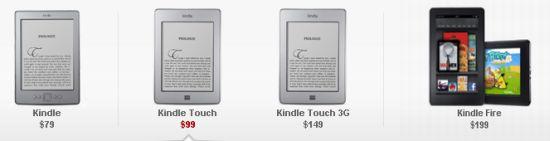Линейка новых Kindle - черно белая Touch (сенсорная) версия и цветной планшет Kindle Fire